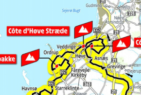 Kort over Odsherred med Tour de France etape 2, 2021